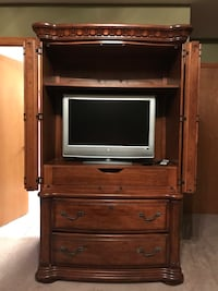 brown wooden TV hutch with flat screen television New Lenox, 60451