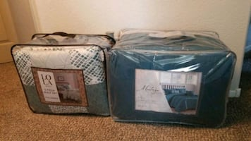 2 Queen size comforter sets..Vases all sizes, Accent decor