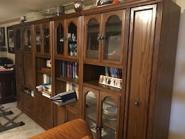 4 piece wood wall unit. In fabulous condition.
