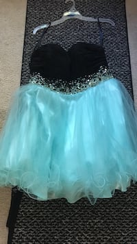 Black & teal homecoming dress.