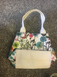 white, green, and red floral leather handbag Cicero, 13039