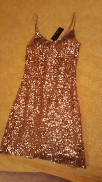 kvinnors guld sequinned spagetti Dres Broby, 280 60