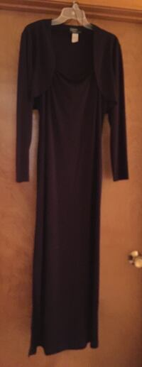 Dark purple ladies size 16 dress with shrug
