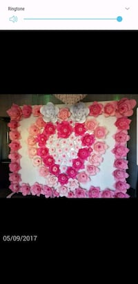 white and pink paper flowers on 8x10ft wall Santa Ana, 92704