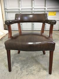 brown wooden framed black leather padded chair Youngsville, 27596