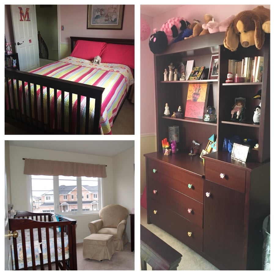 Convertible double bed/crib set with dresser