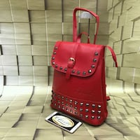 red leather gray studded backpack Thane, 400606