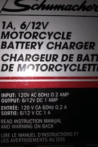 Schumaker 1A,6/12V motorcycle charger Brampton, L6W 3Y7