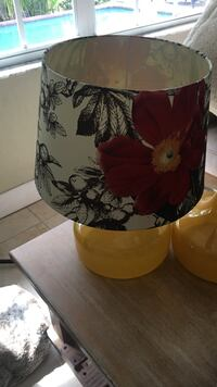 white and red floral lamp shade with yellow ceramic lamp base Oakland Park, 33334