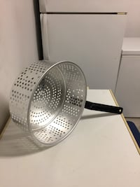 stainless steel colander with black handle
