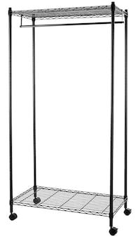 Garment Hanging Rolling Rack with Top and Bottom Shelves - Black