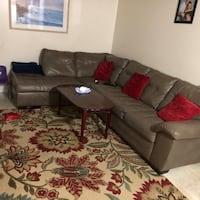 brown leather sectional sofa with throw pillows Crofton, 21114