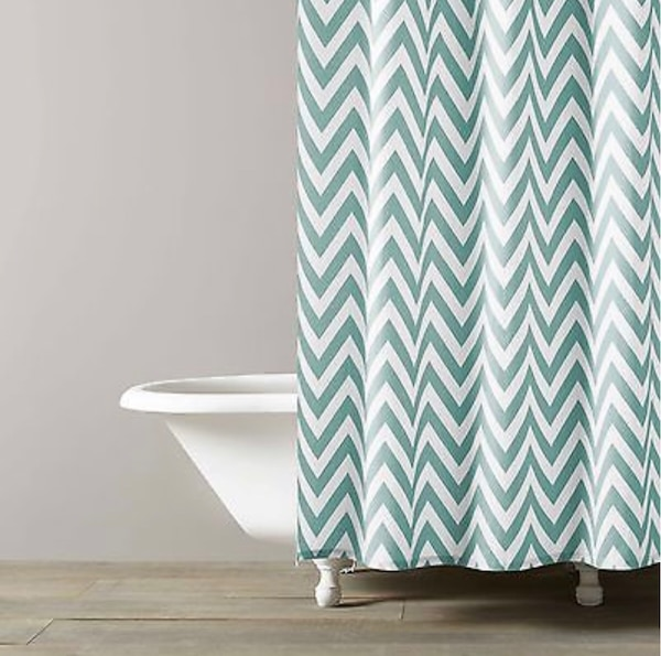 "New! Kassatex Spa Blue Chevron Fabric Shower Curtain. Paid $42.00. Size 72"" x 72. Purchased it from Macy's. Was going to use it for staging a property. I no longer need it. I don't have the original packaging. It's in excellent condition! 2c358418-5d12-40dc-bee8-2dc7fd81aa41"