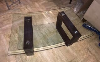Square glass top table with brown wooden base