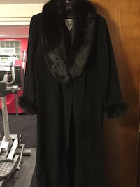 black and gray trench coat