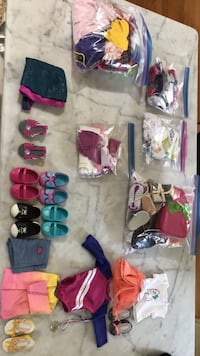 American Girl Doll Accessories - 7 full outfits/multiple accessories from neck pillows,life jacket, shorts and sweaters. Metairie, 70005