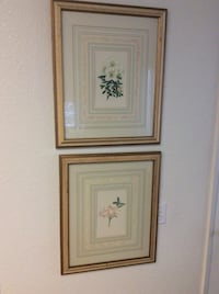 two brown wooden framed paintings of flowers Irvine, 92606