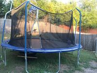 blue and black trampoline with enclosure Garland, 75043