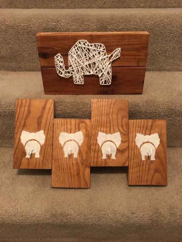 Handmade elephant decor 2 pieces baby room hanging wall piece 62adc773-4425-474f-9e9a-b236cd3eb2fc
