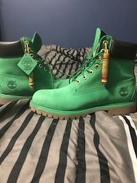 Pair of green timberland work boots