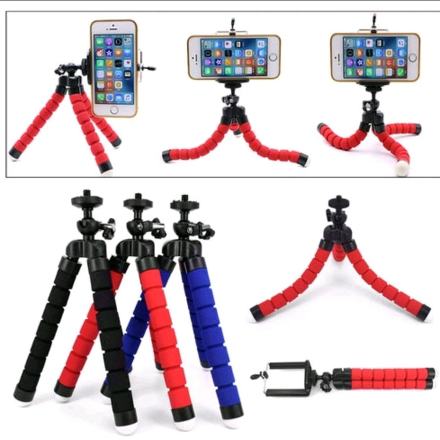Spong Tripod with Phone Clip - Red 9f5c92e0-c50f-4028-a5cd-876d8ff221c8
