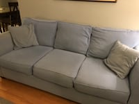 Blue fabric 3-seat sofa and 2 seat loveseat 386 mi