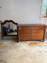 Wooden dresser with vanity mirror