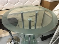 white and gray glass top table Waldorf, 20603