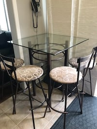 Custom metal bar table (glass top) and 4 matching chairs  Milton, L9T 6X5