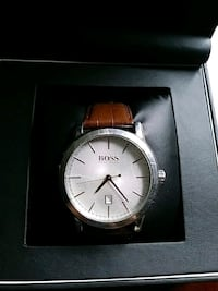 round silver Michael Kors analog watch with red leather strap Southampton, 18966