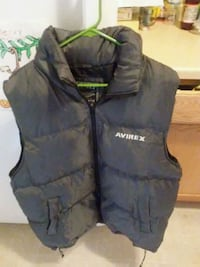 Mens Large AVIREx bubble coat vest w/ collar hood