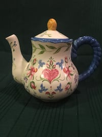 White, pink, green, and blue floral ceramic teapot Winchester, 22656