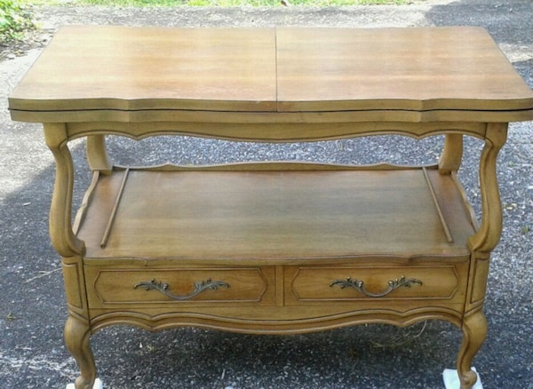 Vintage 1970s VANLEIGH Wood Table Fold Out Top