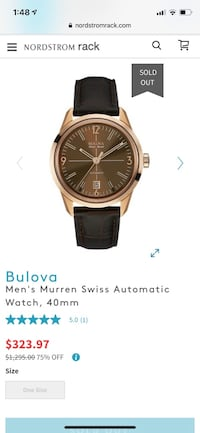 round gold-colored analog watch with black leather strap Alexandria, 22310