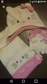 Hello kitty 3 pc set cap scarf and gloves