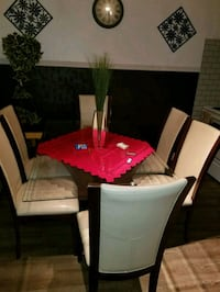 white and red dining table set Toronto, M6H 1Y4