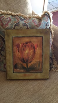 orange Tulip flower painting with brown wooden frame Ruston, 71270