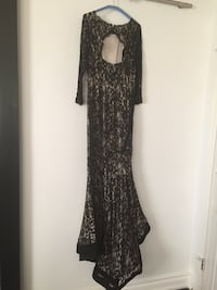 black and gray sheer floral long sleeve scoop neck maxi dress