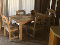 Rectangular brown wooden table with four chairs dining set El Paso, 79928