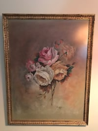 white petaled flower painting with brown wooden frame Nobleton