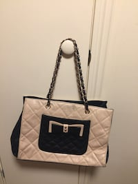 quilted white and black leather tote bag