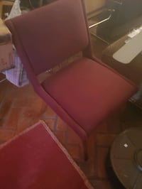 Accent  chair - stained finish with burgundy fabric, great condition