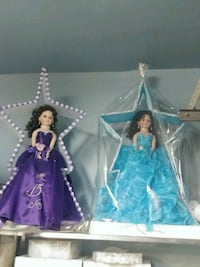 two blue and pink dressed dolls for quinceanera  Houston, 77080