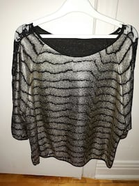 silver and black stripe scoop-neck long-sleeved blouse