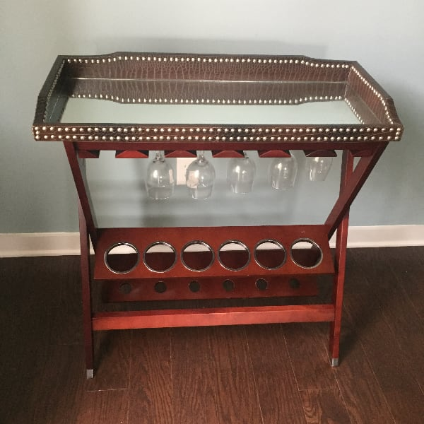 Brown wooden Wine Rack with Mirror table top