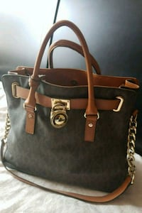 black and brown leather Michael Kors tote bag Bailey's Crossroads, 22041