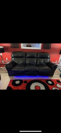 Black leather 3-seat sofa Silver Spring, 20906