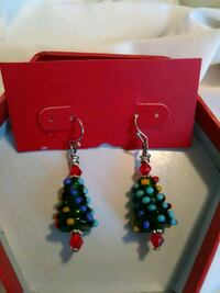 Handcrafted Christmas Tree Charmed Earrings Austin, 78741