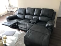 Black leather recliner sofa set Toronto, M9P 3S8