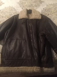 Men's leather bomber jacket.